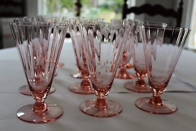 """Crystal stemware ice tea/water; pink 6"""" ht; excellent condition; set of 12"""