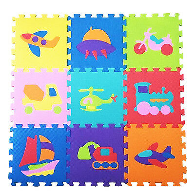 Baby Play Mat Kids Transports Foam Puzzle 9 Tiles Toddler Playmat Activity Gym