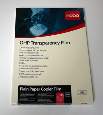 Nobo Overhead Projector OHP Transparency Film for Plain Paper Copiers A4 x 100