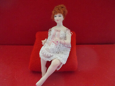 Dollhouse Doll 1:12 scale Redhead  Woman in NIghtgown