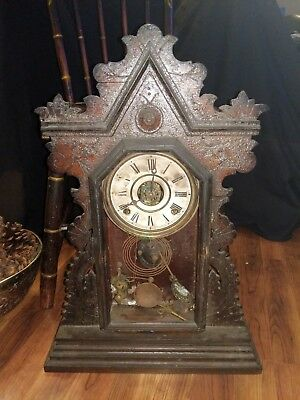 Antique wind  Gingerbread Parlor clock. As is.