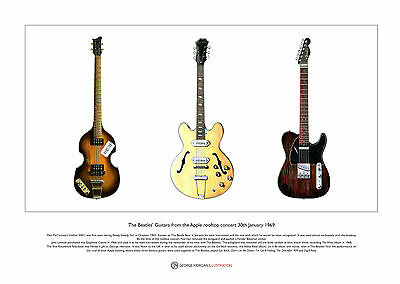 the Beatles' Guitars from the Apple rooftop concert Ltd Edition Print A3 size