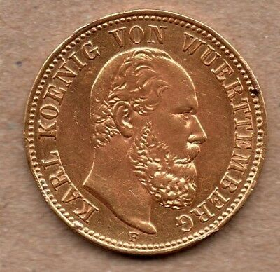 Germany - Wurttemberg - 5 Mark - 1877 F - Gold Coin