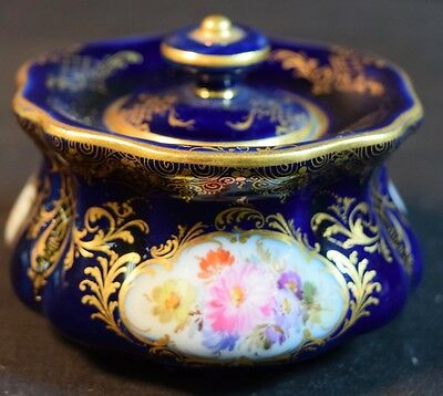 Antique Meissen Porcelain Covered Inkwell or Inkpot