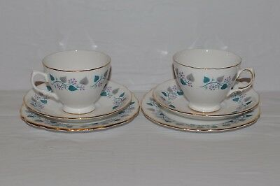 ROYAL VALE BONE CHINA 1950s RIDGWAY POTTERIES 2X TEA CUP SAUCER & SIDE PLATE