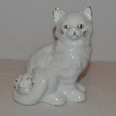 Vintage made in China White & Gold Cat with Kitten Ornament Figurine