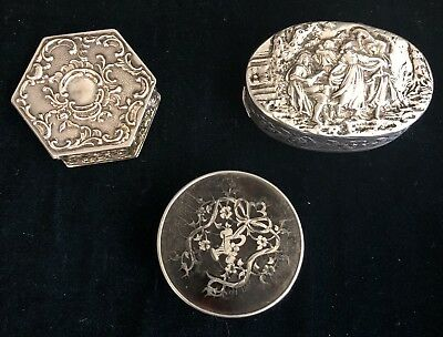 Lot of 3 Silver Snuff Boxes L&S, Karl Kurz, Continental Repousse (197030)