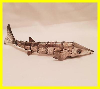 Spanish 925 Silver Articulated Fish Circa 1950's,good Size,green Eyes