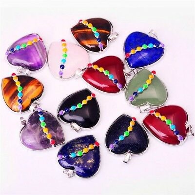 Fashion 7 Chakra Heart-shaped Charm Pendant Necklace Women Simple Necklace Gift