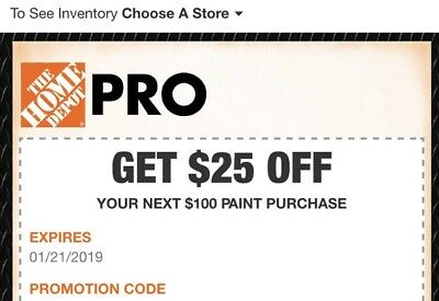 One (1x) Home Depot $25 Off $100 Paints Coupon In-Store Only-1/21/19 expiry