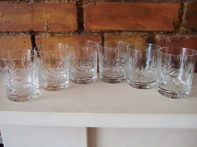 Set Of 6 Beautiful Vintage Cut Glass Lead Crystal Whisky Tumblers / Glasses