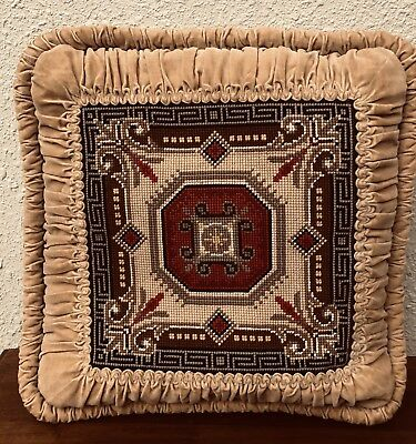 Antique Greek Key Velvet Pillow Geometrical Needlepoint. Circa 1920's