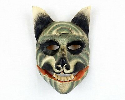 Vintage Hand Carved Wooden Wolf Tribal Mask, Wood Wall Decor, Indonesian