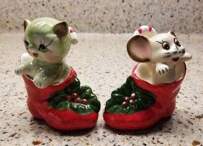 2 Vintage Ceramic Christmas Figures Candy Cane Boot Cat Mouse Made in Japan