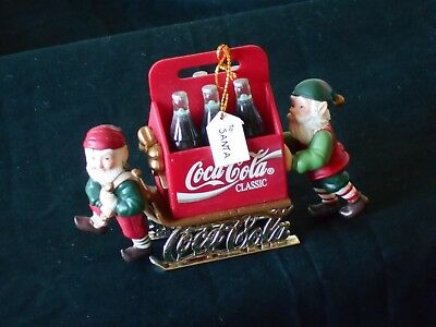 """Coca Cola 1996 Tree Ornament Elves Sleigh Hanging Ornament 4 1/2 X 3"""" Red Green"""