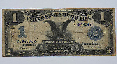1899 $1 Black Eagle Silver Certificate Large Size Currency Note