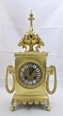 Antique French Mantle Clock Rare Bronze Cubed Shape 8 Day 1880's Bell Striking