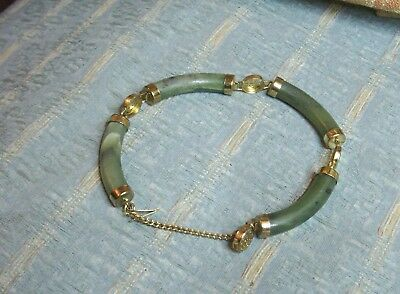 Old Vintage Chinese Dark Green Jade Gold Plated Bracelet Good Condition China