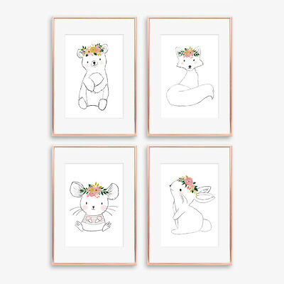 Woodland Floral Animal Nursery Prints Childrens Bedroom Wall Art Pictures Decor