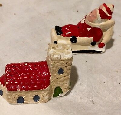 Antique ChalkWare Miniature Plaster Santa Castle Children Sledding Lot ENGLAND