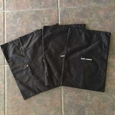 "SAINT LAURENT Lot Of 4 Black Drawstring Shoe Sleeper Dustbags 14"" x 10"""
