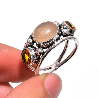Rose Quartz Citrine Vintage Style 925 Sterling Silver Jewelry Ring 8.5 US RM-93