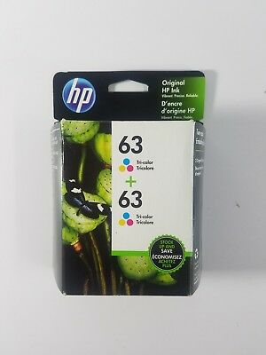 HP 63/63 Twin Tri-Color Brand New Sealed Retail box Exp. 11/2019 Free Shipping
