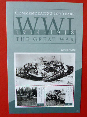 2014 St VINCENT 100th ANNIV WWI  WEAPONRY MAYREAU STAMP MINI SHEET