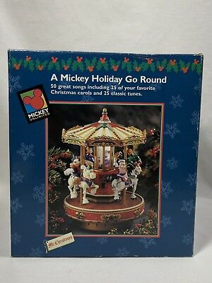 1996 Mr. Christmas A Mickey Holiday Go Round Musical Carousel Plays 50 Songs~NEW