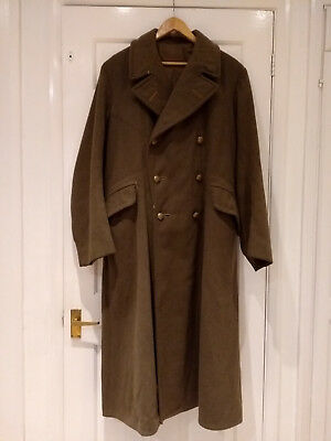 Early 20th Century British Military Heavy Wool Green Trench Coat w Brass Buttons