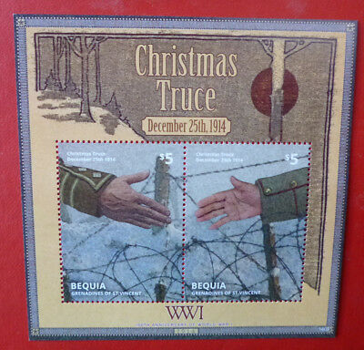 2014 St VINCENT 100th ANNIV WWI CHRISTMAS TRUCE BEQUIA STAMP MINI SHEET