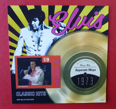 2013 St VINCENT ELVIS HITS SEPERATE WAYS STAMP MINI SHEET