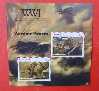 2014 St VINCENT 100th ANNIV WWI WARTIME POSTERS UNION Is STAMP MINI SHEET