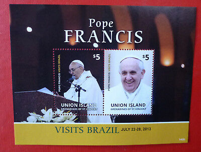 2014 St VINCENT POPE FRANCIS UNION Is STAMP MINI SHEET 2