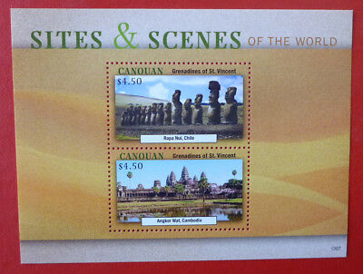2013 St VINCENT SITES & SCENES OF THE WORLD CANOUAN STAMP MINI SHEET