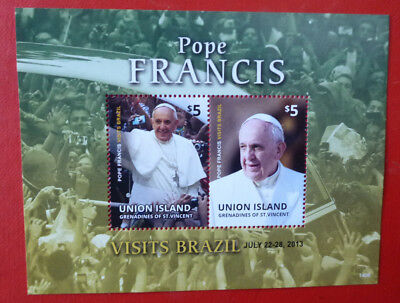 2014 St VINCENT POPE FRANCIS UNION Is STAMP MINI SHEET