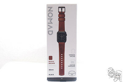 Nomad - Leather Watch Strap for Apple Watch 38mm (Brown with black lugs)