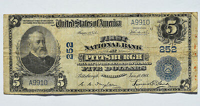 1902 $5 First National Bank Of Pittsburgh PA 252 Currency Note Large Size