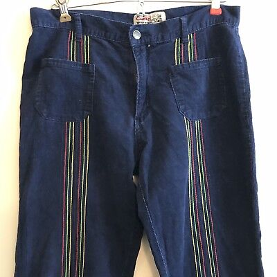 Vintage Carter's Watch The Wear Blue Corduroy Pants Color Pinstripe Size S Women
