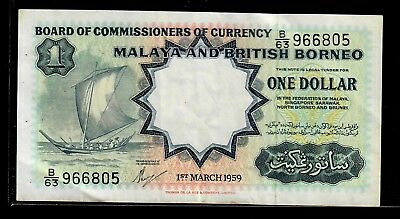 Malaya and British Borneo 1 dollar 1959 p-8A VF