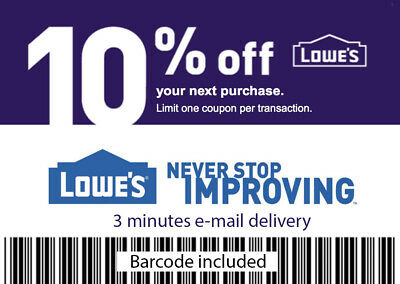 1 x 10% OFF LOWES 1Coupon W BARCODE - Lowe's In store/online - E-delivery