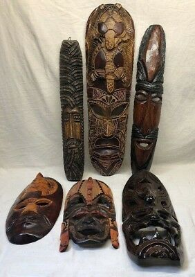 Lot of 6 - Vintage African / Hawaiian Style Hand Carved Asst Wooden Masks 24""