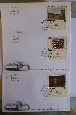1970 Israel Paintings In Tel Aviv Museum Set Of Stamps On 3 First Day Covers