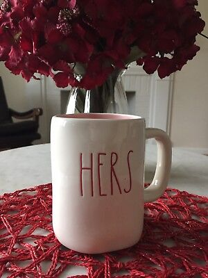 Rae Dunn HERS Mug Pink Interior Rare Valentines Day Gift NEW HTF Red Letters