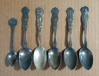 Souvenir State Spoons (6) Del.,N.H.,IN.,N.J.,Mass.,Early 1900's