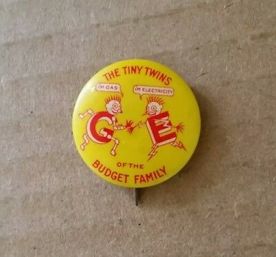 """The Tiny Twins"" Gas & Electricity,Rochester Gas & Electric Pinback,1940's"