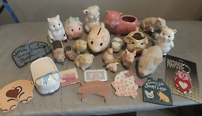 Vintage & Antique Pig Collection Ceramic, Magnets, Glass, Etc, Shakers, Keychain