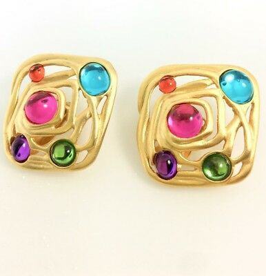 Vintage earrings stunning design matte gold tone with multicolor cabochons