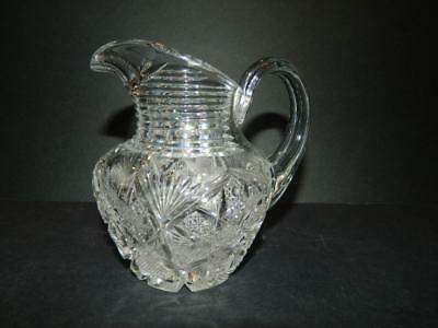 American Brilliant Cut Glass Creamer Mixed Patterns Antique
