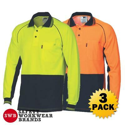 3 x DNC Workwear Mens Hi Vis Cotton Back Contrast Piping Polo Shirt L/S New 3720